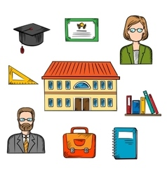 School and education colorful objects vector