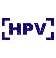 Scratched textured hpv stamp seal between corners vector