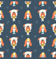 seamless pattern cute puppies and dogs on blue vector image