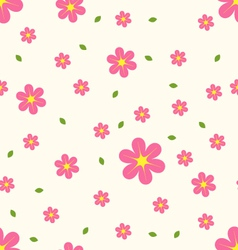 Seamless pattern pink and yellow flowers with vector