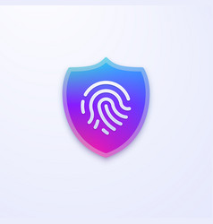 security shield icon fingerprint identification vector image