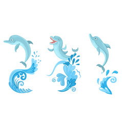 Set dolphins jumps from ocean wave blue vector