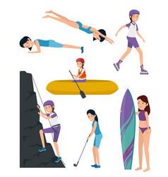 Set girls training exercise activity lifestyle vector