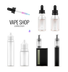 Set of realistic vape bottles and e-cigarette vector