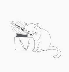 sketch wiht cute cat and paper bag vector image