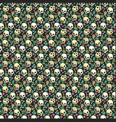 Skull and bone vintage seamless pattern background vector