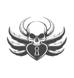 skull and padlock tattoo vector image