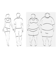 slim and overweight couple vector image