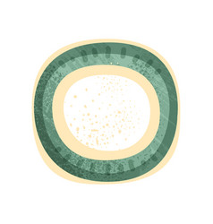 Small round plate or saucer with green and yellow vector