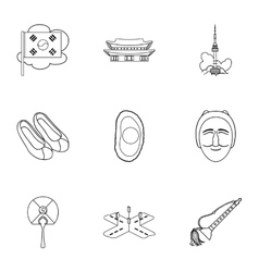South Korea set icons in outline style Big vector