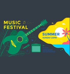 summer music fest poster design with green guitar vector image