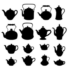 Tea kettles set teapots collection coffee pot vector