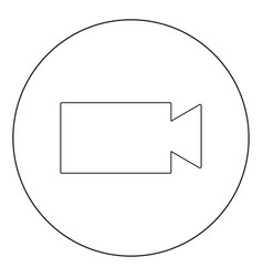 video camera icon black color in circle or round vector image