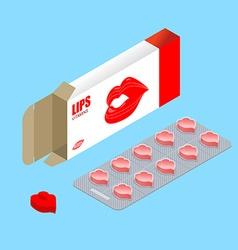 Vitamins Lips in pack Lip augmentation pills vector image vector image