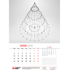 wall calendar template for june 2019 with vector image