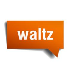 Waltz orange 3d speech bubble vector