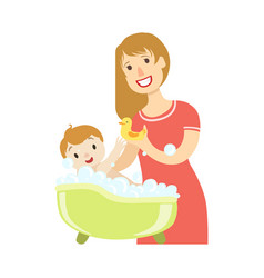 young mother giving a bath to baby son vector image