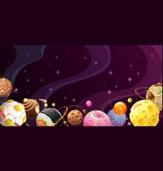 Yummy world colorful cartoon food planets vector