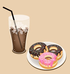 A Delicious Iced Coffee with Glazed Donuts vector image