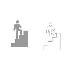 a man climbing stairs it is black icon vector image