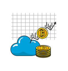 Cloud data with arrow and bitcoin currency vector