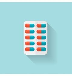 Flat medical pills icon Tablets symbol Health vector image