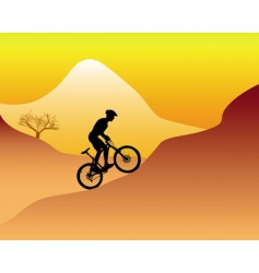 mountain biker riding down hill vector image vector image