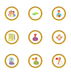 recruitment icons set cartoon style vector image vector image