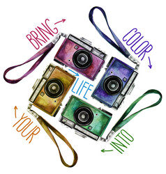 watercolor set of multicolor vintage reflex vector image