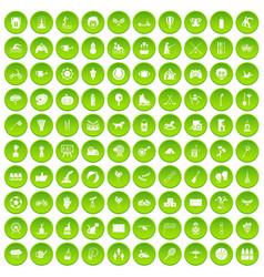 100 kids activity icons set green circle vector