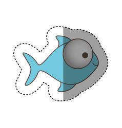 Color fish with big eyes icon vector