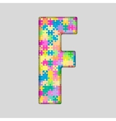 Color piece puzzle jigsaw letter - f vector