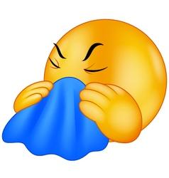 Emoticon smiley coughing vector image vector image