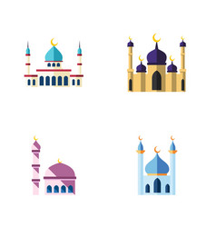 flat icon mosque set of building mosque islam vector image