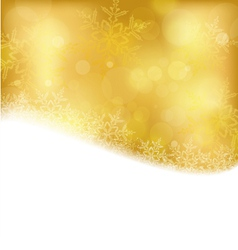 Golden Christmas background with blurry lights vector image vector image