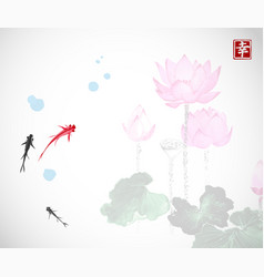 little red and black fishes and pink lotus flowers vector image vector image