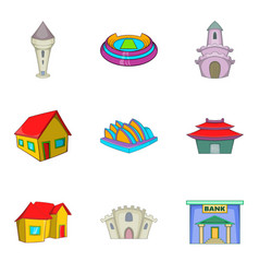 mansion house icons set cartoon style vector image