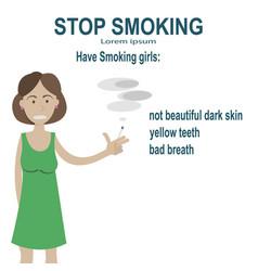 problems smoking women vector image vector image