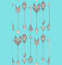 seamless pattern with boho arrows vector image vector image