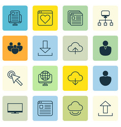 set of 16 web icons includes computer network vector image vector image