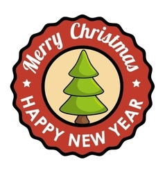 stamp merry christmas happy new year tree vector image