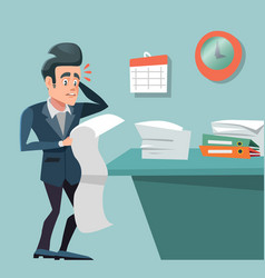 stressed busy businessman with long to do list vector image