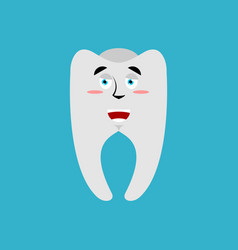 Tooth happy emoji teeth merry emotion isolated vector