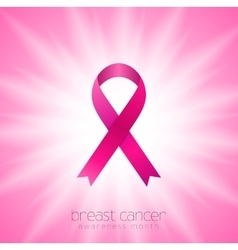 Breast cancer awareness month Pink ribbon and vector image