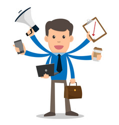 businessman happy with multitasking and multi vector image vector image