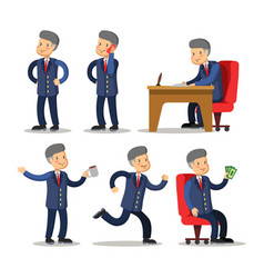 successful businessman cartoon set man with money vector image