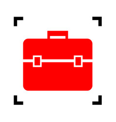 briefcase sign red icon vector image