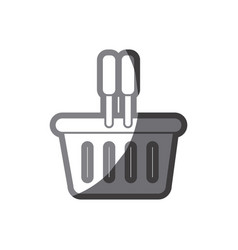 grayscale silhouette of plastic shopping basket vector image vector image