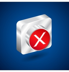 Validation denied metall red button vector image