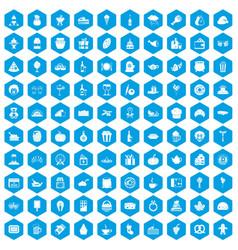 100 bounty icons set blue vector